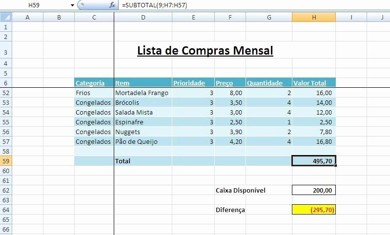 Lista De Compras Supermercado Excel Lovely Curso Excel Tio Ilmo Excel 2007 Super Cases Lista De