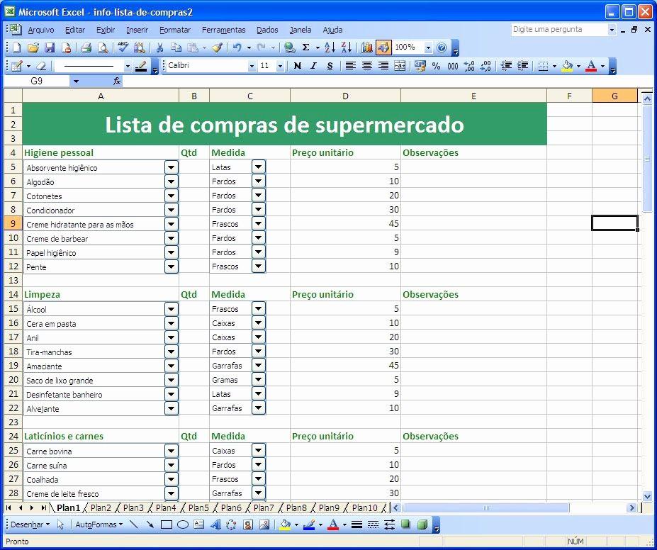 Lista De Compras Supermercado Excel Luxury Screenshot Lista De Pras De Supermercado 1