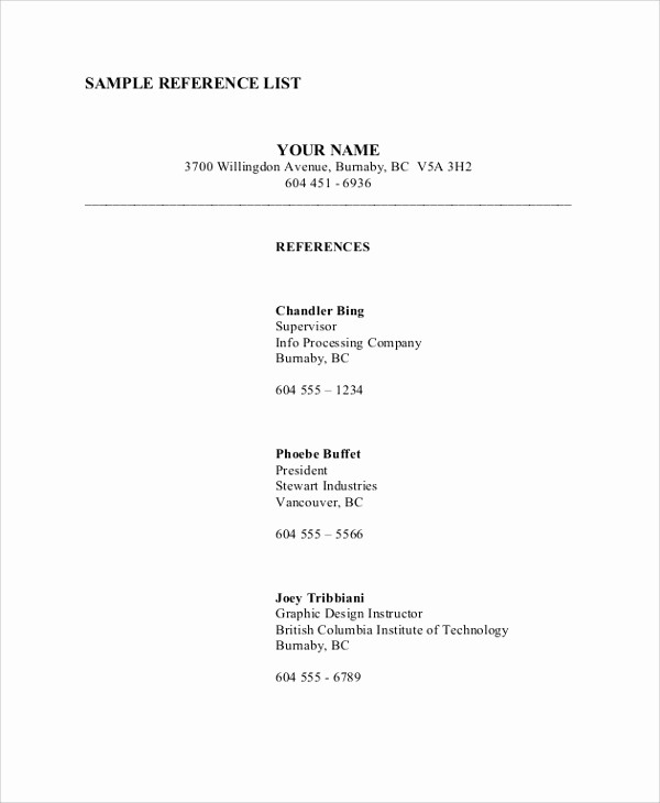 Listing References On A Resume Inspirational 9 Sample Reference Lists