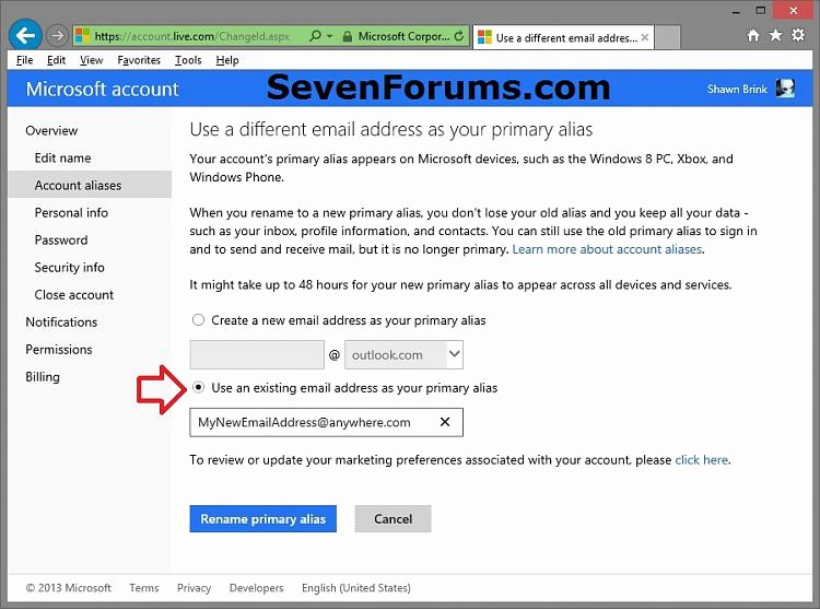 Live Com Login Email Account Lovely Microsoft Account Primary Alias Email Address Change