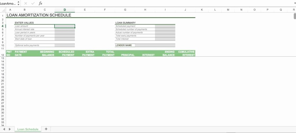 Loan Amortization Calculator Extra Payments Unique Loan Amortization Spreadsheet Spreadsheet Templates for