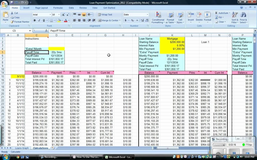 Loan Amortization Calculator Extra Payments Unique Mortgage Loan Amortization Excel Spreadsheet and Mortgage