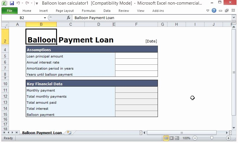 Loan Amortization Calculator with Balloon Awesome Free Balloon Payment Excel Template