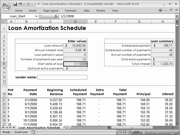 Loan Amortization with Extra Payment Beautiful Excel Loan Amortization Template 2007 Free
