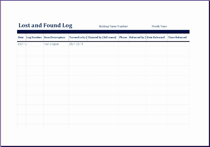 Lost and Found form Sample Awesome 7 Building Maintenance Checklist Exceltemplates