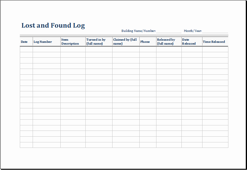 Lost and Found form Sample Awesome Lost and Found Log Template Excel