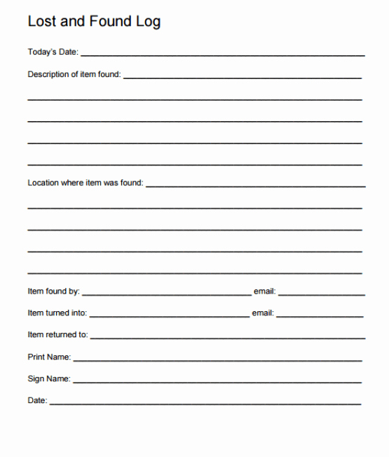 Lost and Found form Sample Fresh 4 Lost and Found Log Templates – Word Templates