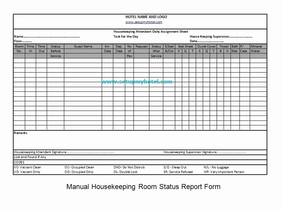 housekeeping form