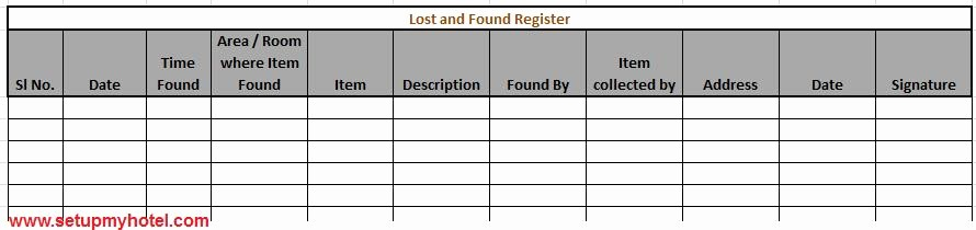 Lost and Found form Sample Inspirational sop Housekeeping Lost and Found Procedures