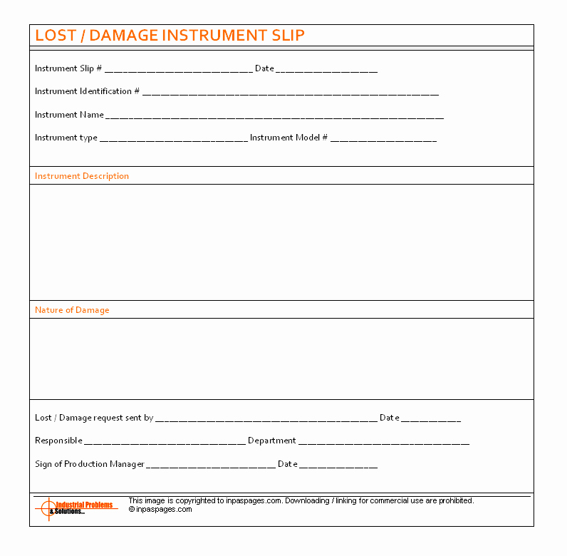 Lost and Found form Sample Lovely Lost Damage Instrument Slip format