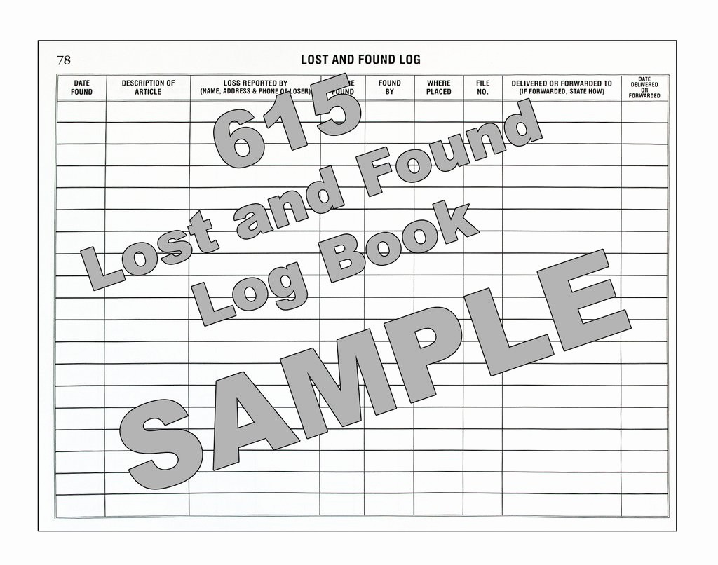 Lost and Found form Sample Luxury Lost and Found Log Book 615