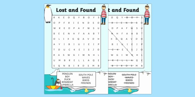 Lost and Found Log Book Unique Word Search to Support Teaching On Lost and Found Word