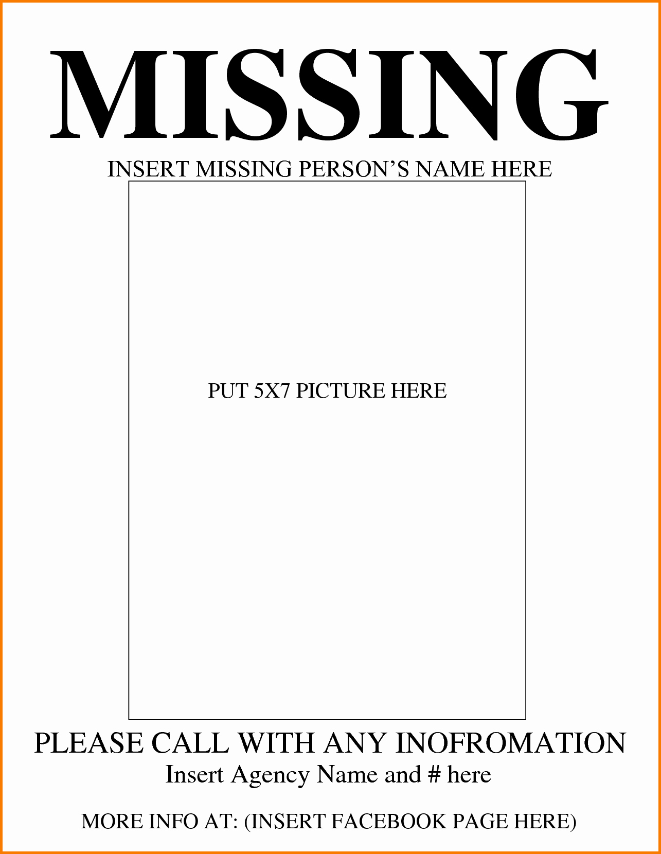 Lost and Found Sign Template Best Of Missing Person Template