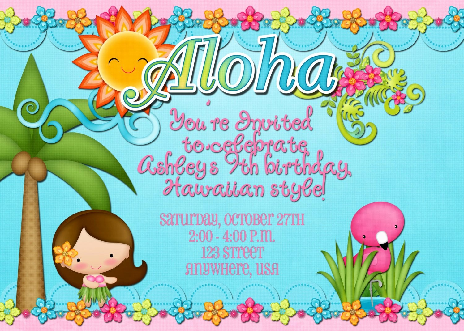 Luau Party Invitations Templates Free Beautiful Hawaiian Luau Birthday Party Invitation