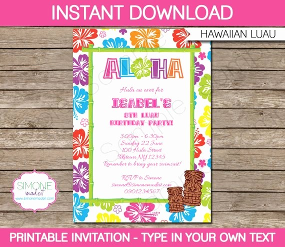 Luau Party Invitations Templates Free Beautiful Luau Invitation Template Birthday Party Instant Download