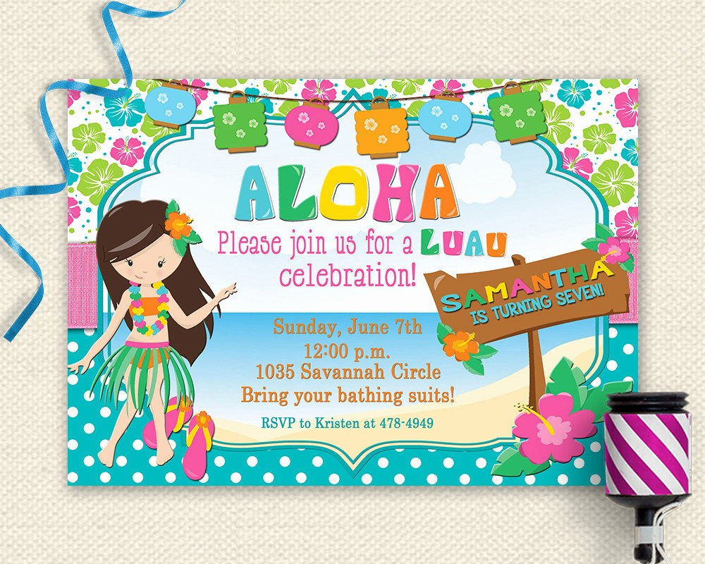 Luau Party Invitations Templates Free Lovely 20 Luau Birthday Invitations Designs