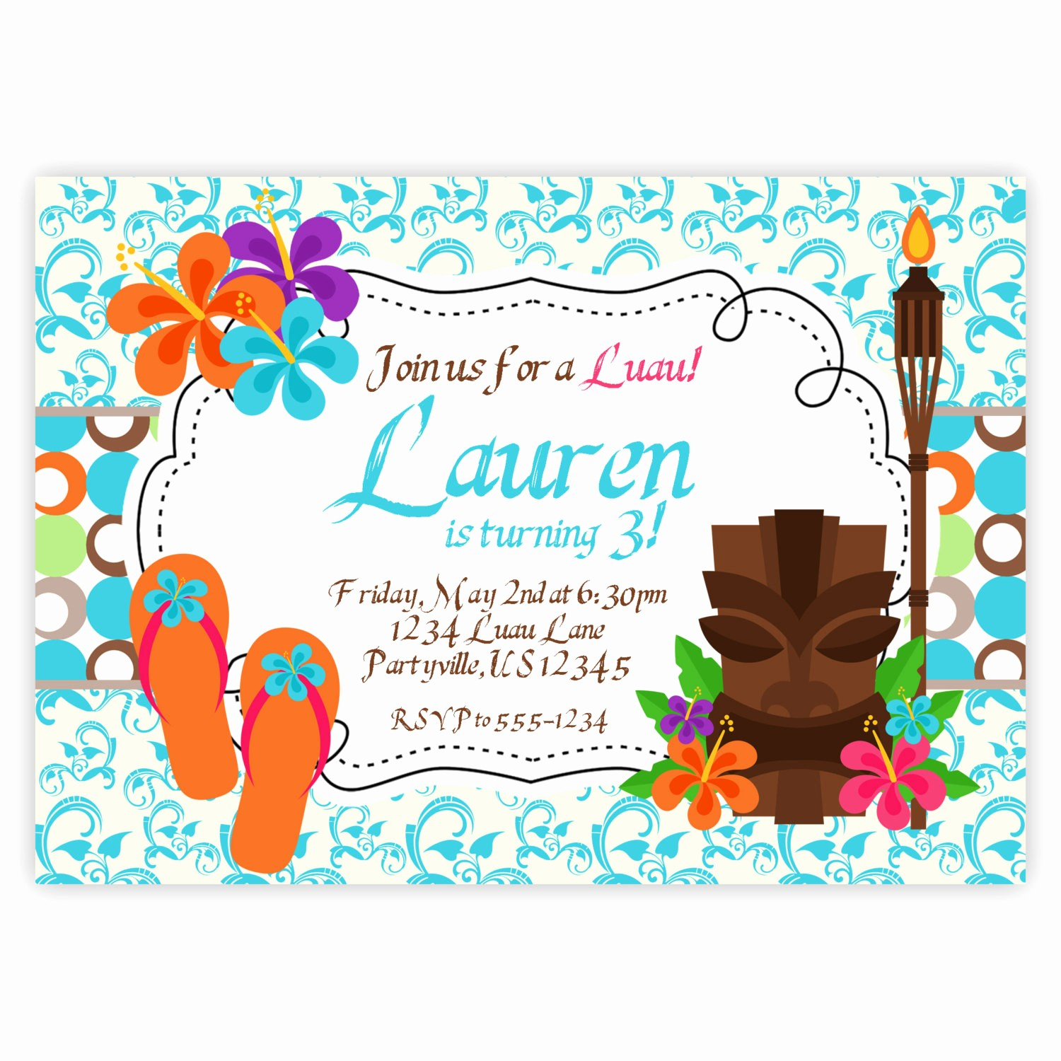 Luau Party Invitations Templates Free New 13 Best S Of Luau Party Invitation Blank Template