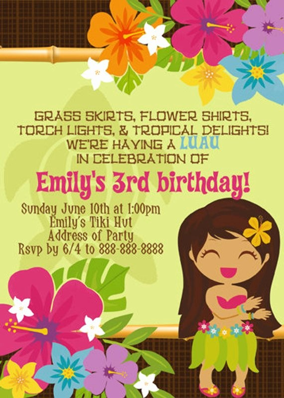 Luau Party Invitations Templates Free New Luau Tropical Hawaiian Invitation Digital File by