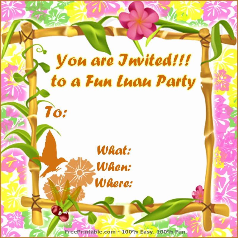 Luau Party Invitations Templates Free Unique Free Luau Invitations Templates Party Xyz