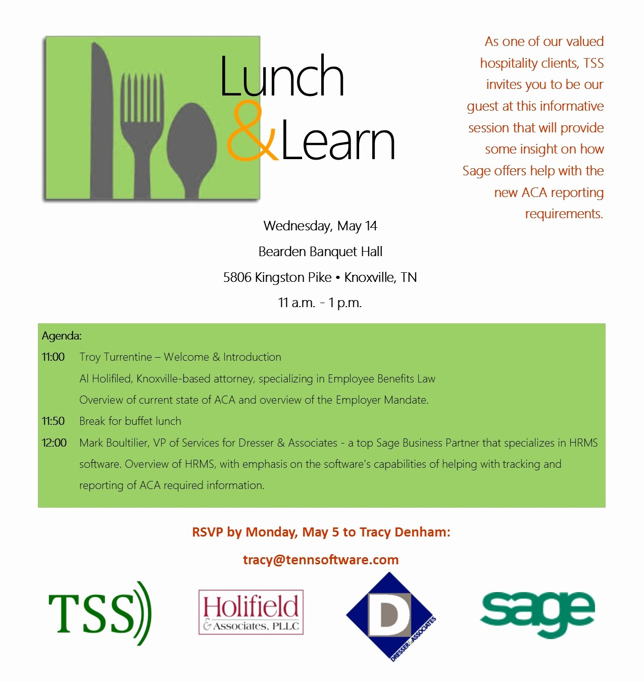 Lunch and Learn Invitation Template Fresh Hospitality Industry Lunch & Learn Aca Reporting – Tss