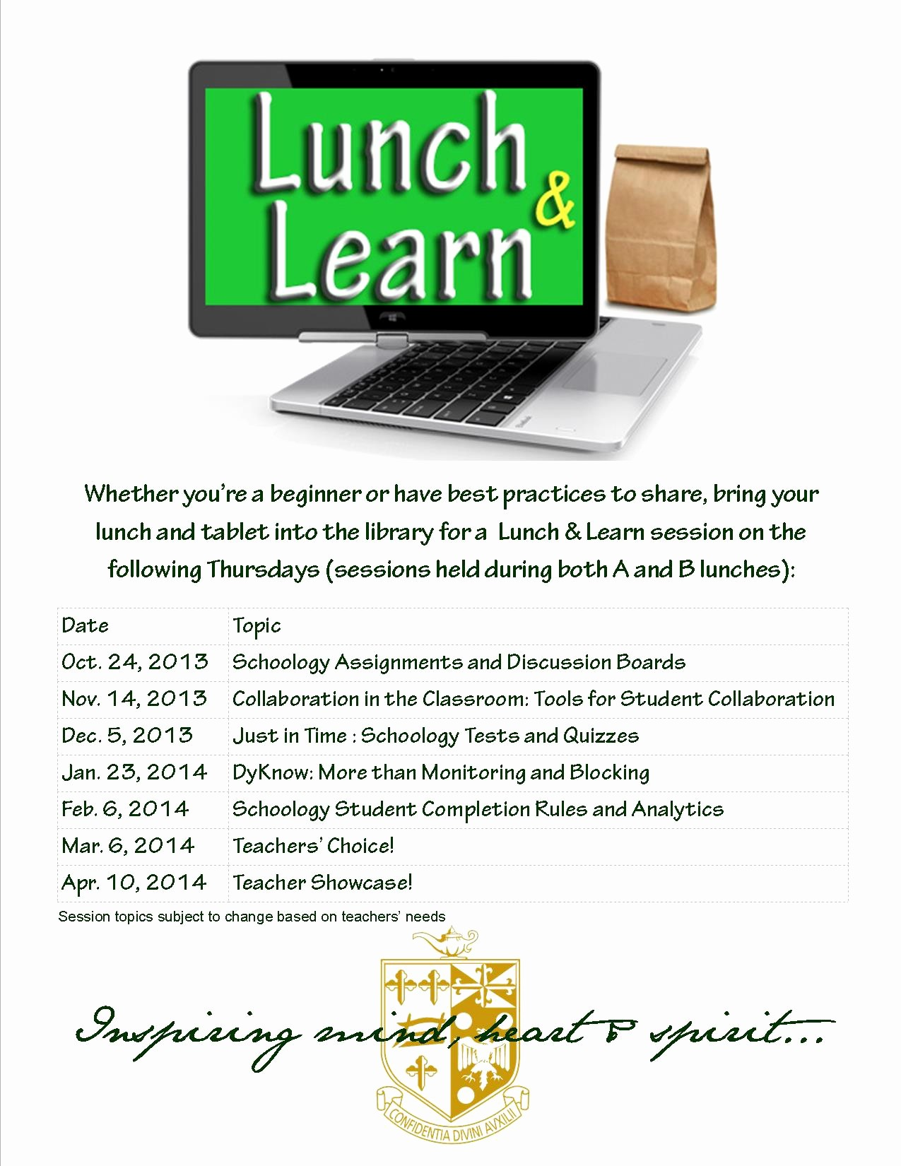 Lunch and Learn Invitation Template New Classroom Activities for 1 1 & byot