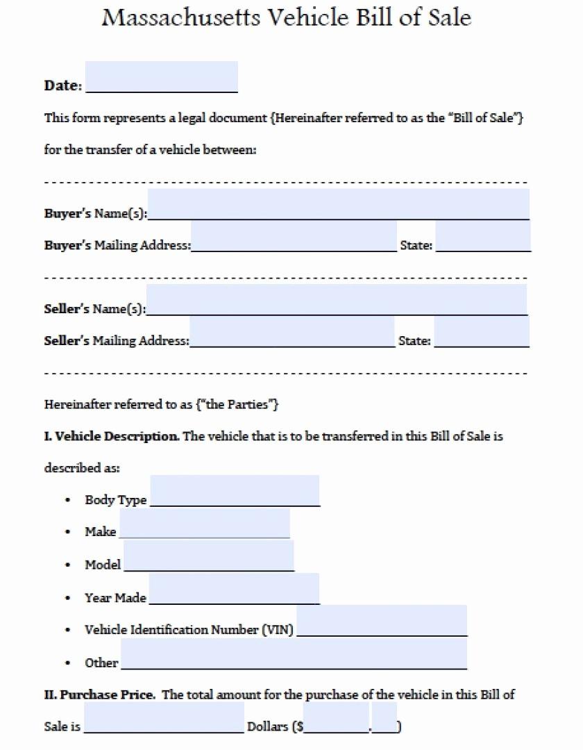 Ma Automobile Bill Of Sale Inspirational Louisiana Motor Vehicle Bill Sale Truck form Template