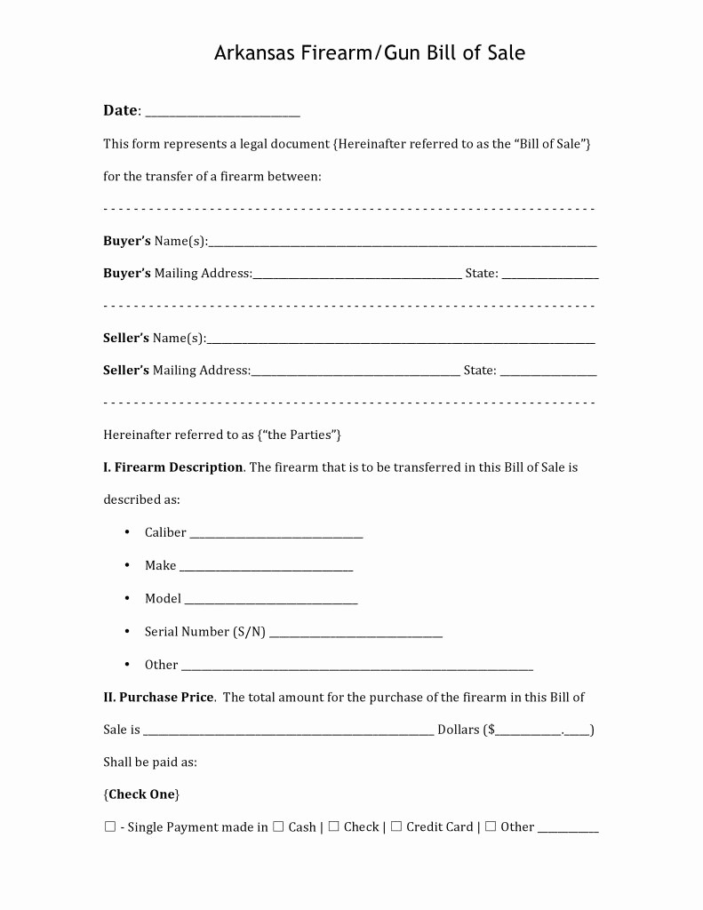 Ma Automobile Bill Of Sale Unique Free Arkansas Firearm Bill Of Sale Pdf Word