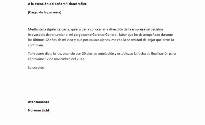 Machote De Carta De Renuncia Awesome A La Junta Directiva