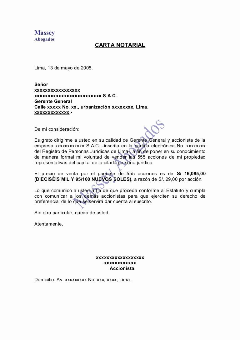 Machote De Carta De Renuncia Awesome Modelo De Carta Notarial De Venta De Acciones