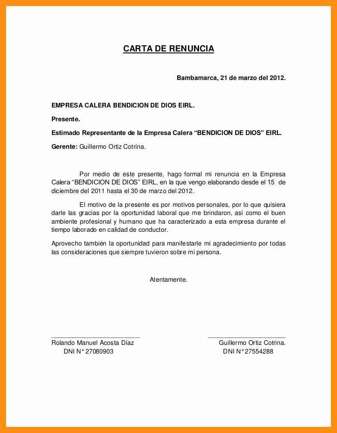 Machote De Carta De Renuncia Elegant 9 10 formato Carta De Renuncia