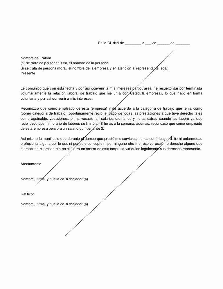 Machote De Carta De Renuncia Elegant formato De Renuncia Voluntaria