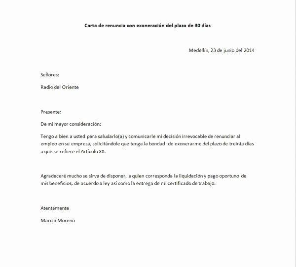Machote De Carta De Renuncia Fresh Con La Exoneración De Los 30 Das Prabyc