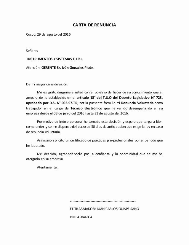 Machote De Carta De Renuncia Inspirational Carta De Renuncia