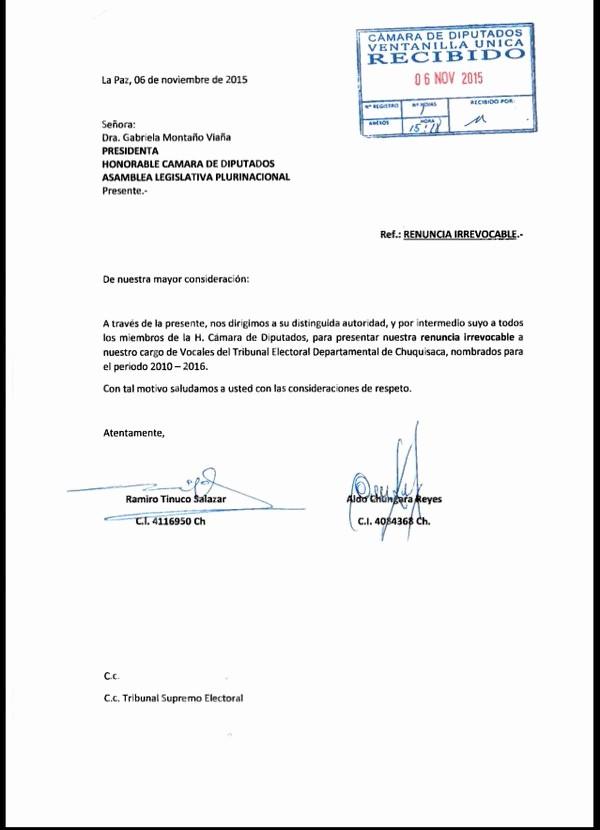 Machote De Carta De Renuncia Inspirational Último Carta De Renuncia De Ramiro Tinuco Y Aldo Chungara