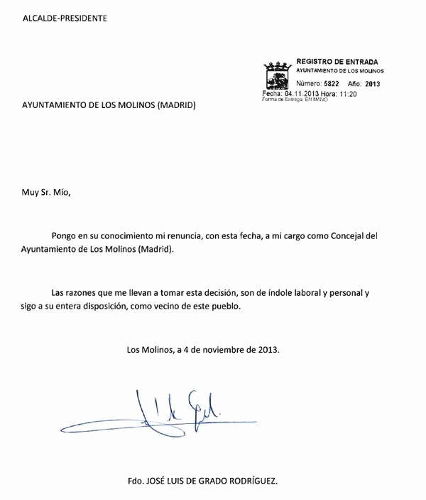 Machote De Carta De Renuncia Lovely Convocatoria Por Los Molinos Renuncia Del Actual Concejal