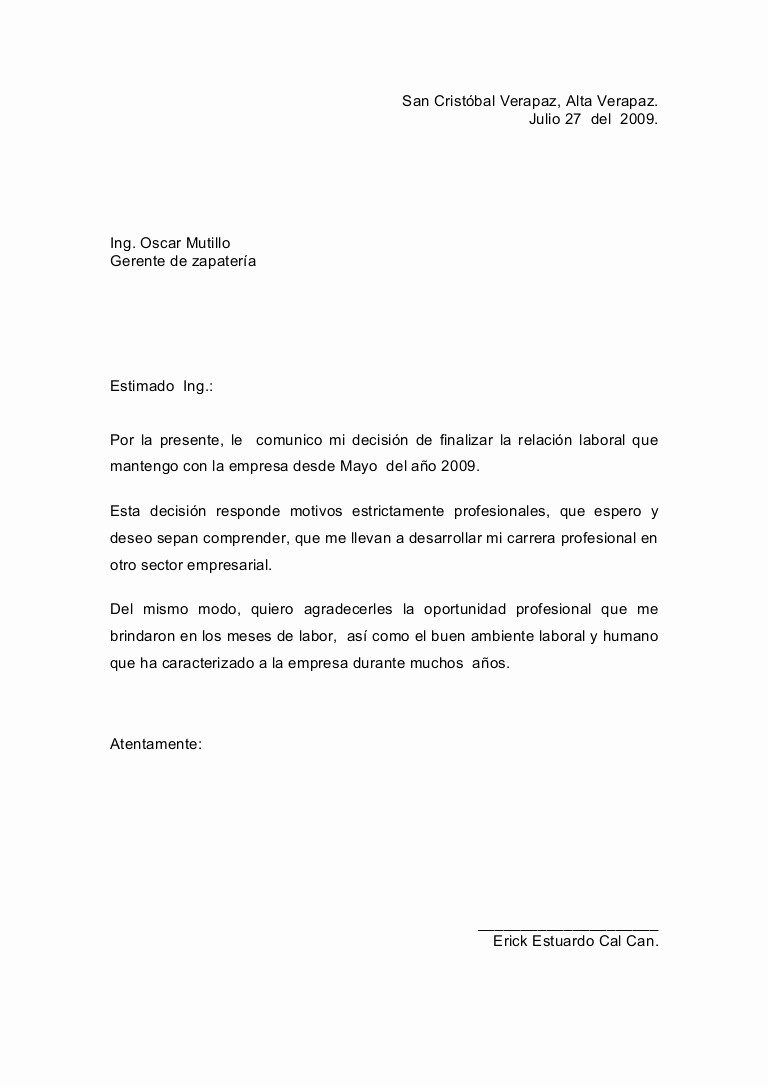 Machote De Carta De Renuncia Luxury Carta De Renuncia