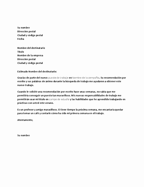 Machotes De Cartas De Renuncia Awesome Carta De Agradecimiento Por Una Referencia De Trabajo