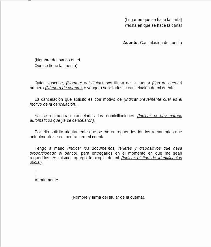 Machotes De Cartas De Renuncia Beautiful Carta De Cancelación De Cuenta Bancaria formatos Y