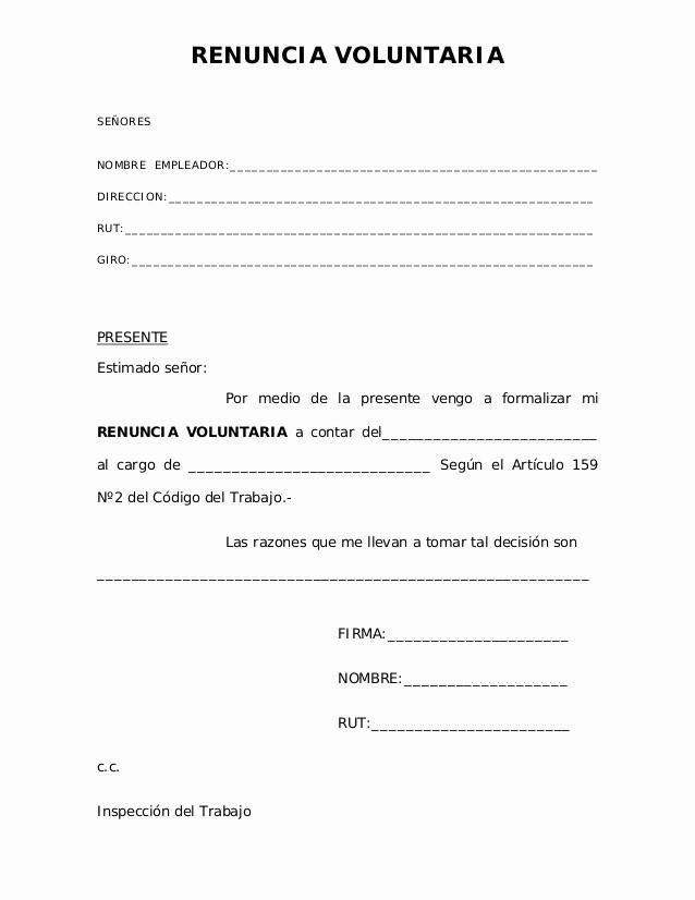 Machotes De Cartas De Renuncia Elegant 01 Renuncia Voluntaria