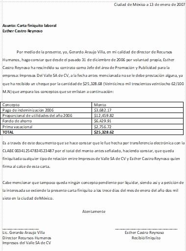 Machotes De Cartas De Renuncia Fresh Carta Finiquito formatos Y Ejemplos