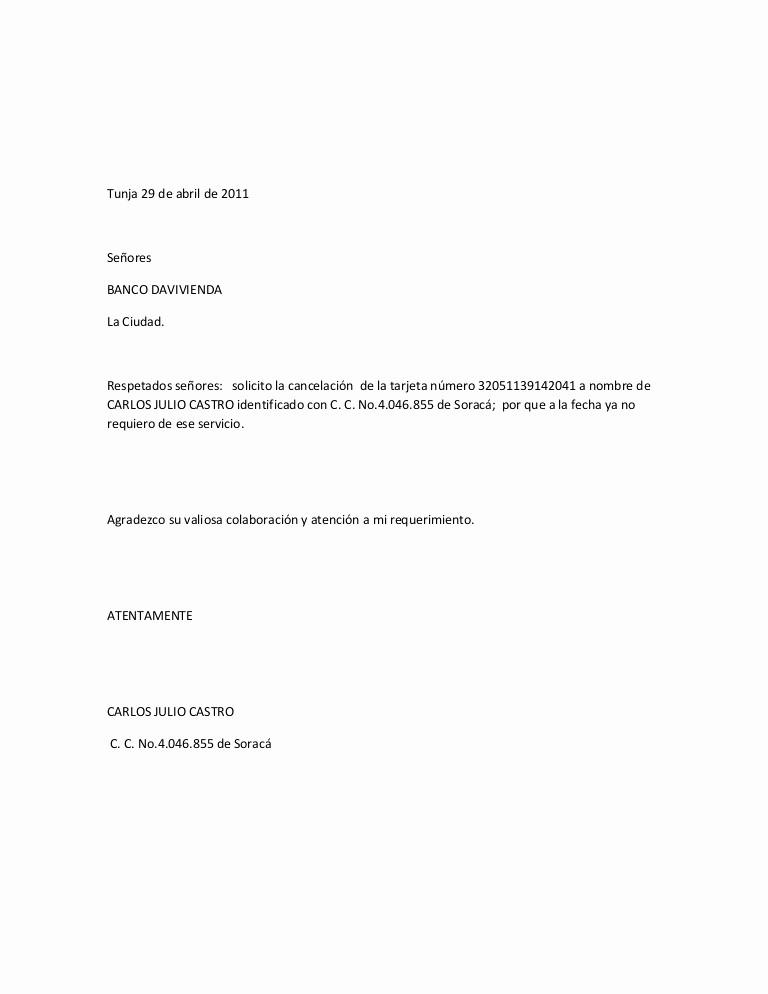 Machotes De Cartas De Renuncia Inspirational Carta Davivienda