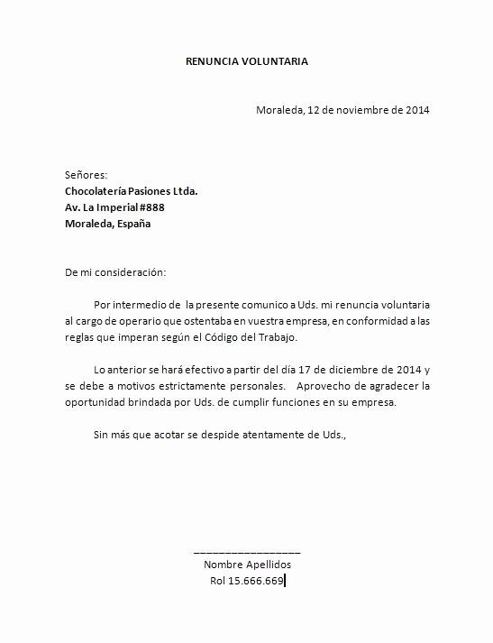 Machotes De Cartas De Renuncia Inspirational Plantilla Carta Renuncia Word Carta