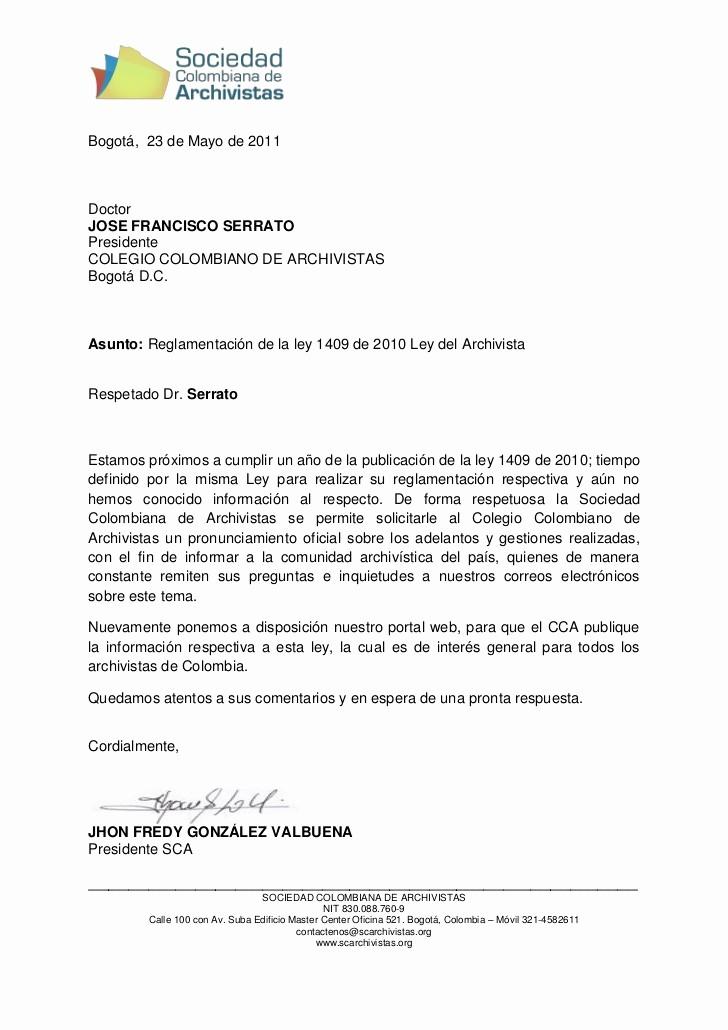 Machotes De Cartas De Renuncia Lovely Carta solicitud Pronunciamiento Cca sobre Ley 1409 De 2010