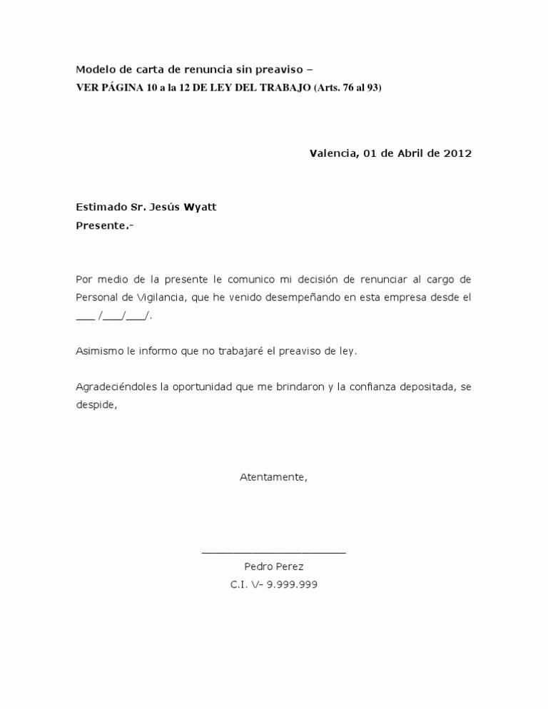 Machotes De Cartas De Renuncia New Imágenes De Modelo De Carta De Renuncia