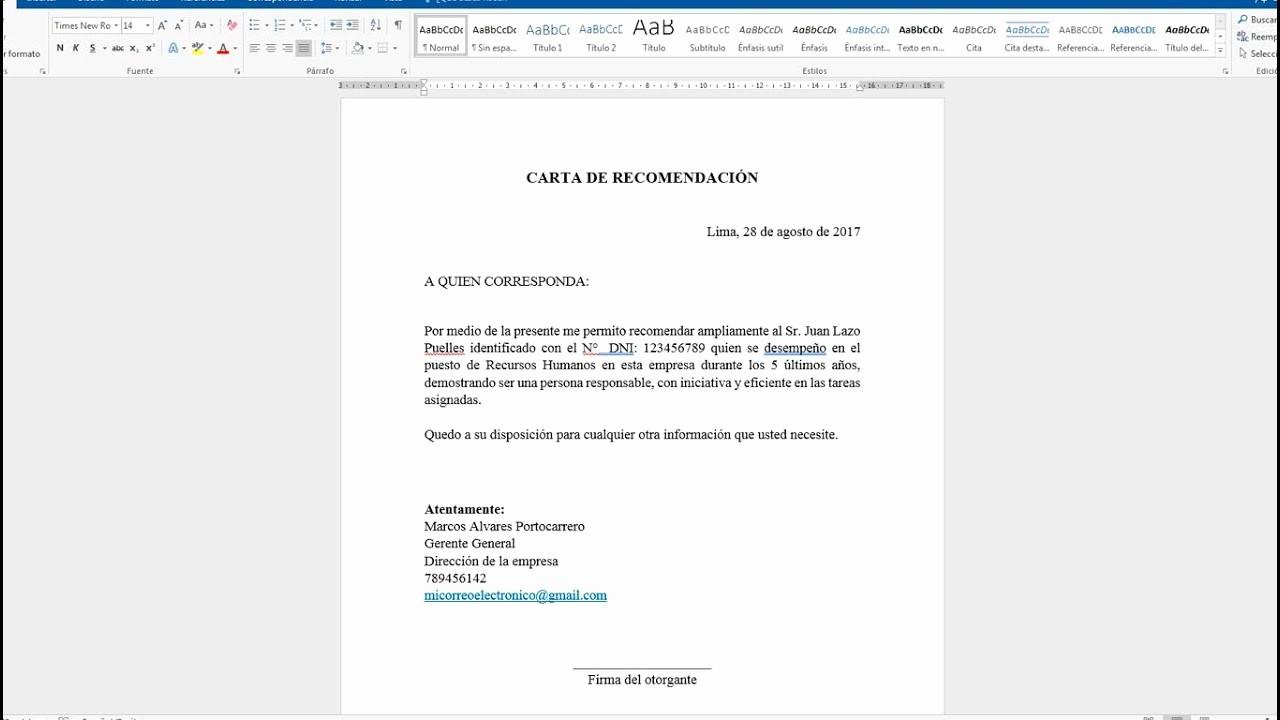Machotes De Cartas De Renuncia New O Hacer Una Carta De Re Endación En Word 2016 2013