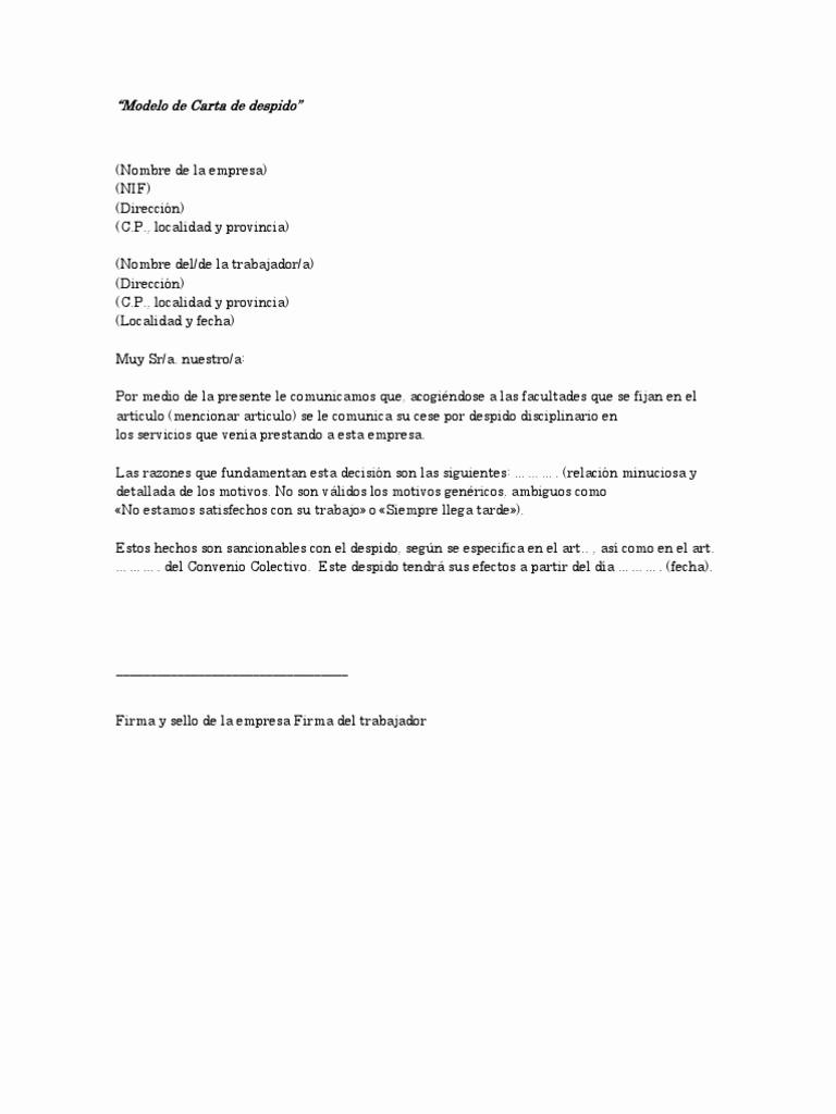 Machotes De Cartas De Renuncia Unique Modelo De Carta De Despido