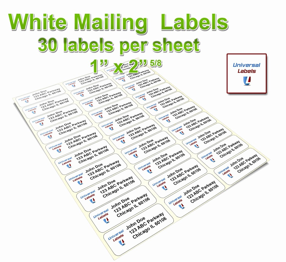 "Mailing Labels 30 Per Sheet Beautiful 2 5 8"" X 1"" Label Size 30 Labels Per Sheet"