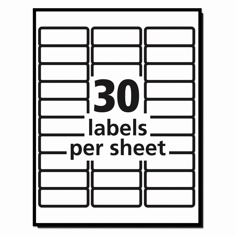 Mailing Labels 30 Per Sheet Beautiful 20 Sheets 30 Labels Per Sheet Avery Easy Peel Laser