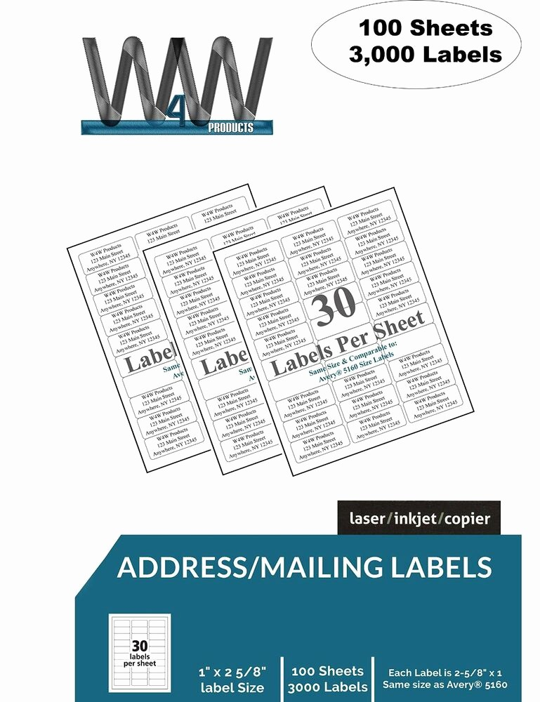 Mailing Labels 30 Per Sheet Unique W4w 30 Up Name and Address Mailing Labels Sheets