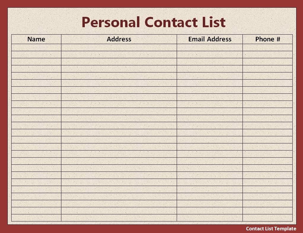Mailing List Template Microsoft Word Best Of Free Contact List Template